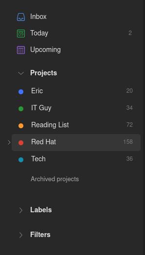 Screenshot: Eric's Project List